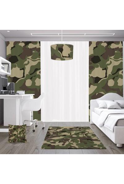 Dekogen Askeri Kamuflaj Desenli Genç Çocuk Odası Fon Perdesi 2 Kanat