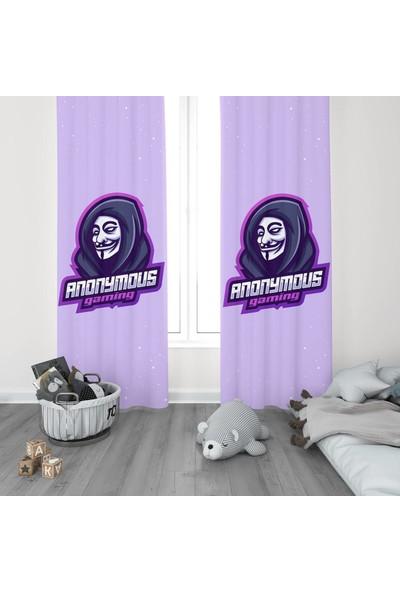 Dekogen Anonymous Logolu Gamer Odası Fon Perdesi 2 Kanat