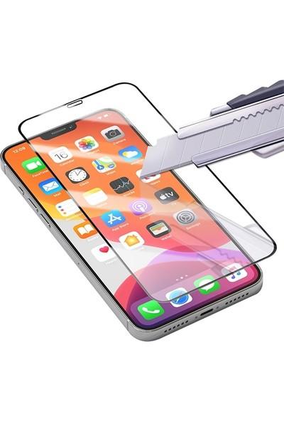Ally Apple iPhone 12- 12 Pro 6.1 Full Glue Tempered Cam Ekran Koruyucu Full Kaplama AL-33183 Siyah