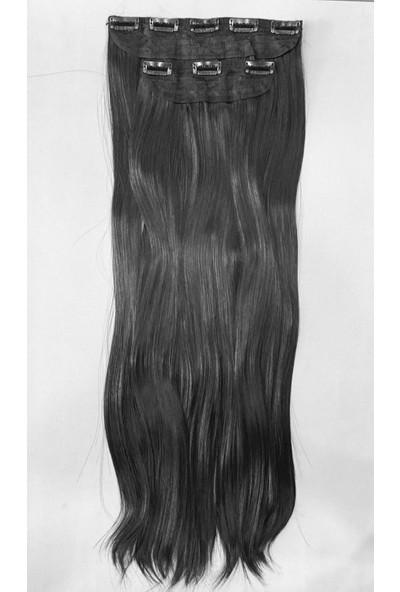Ahsen Peruk Siyah Yarım Ay Çıt Çıt Set Isıya Dayanıklı - 70 cm 220 gr
