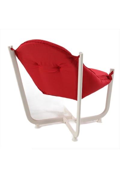 İnter System Sun & Beach Koltuk Beyaz Ayak ve Kırmızı Minderli Rahat ve Yumuşak