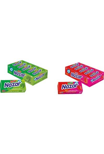 Nazar Nane Aromalı Stick Sakız 7 gr x 20'li + Çilek Aromalı Stick Sakız 7 gr x 20'li