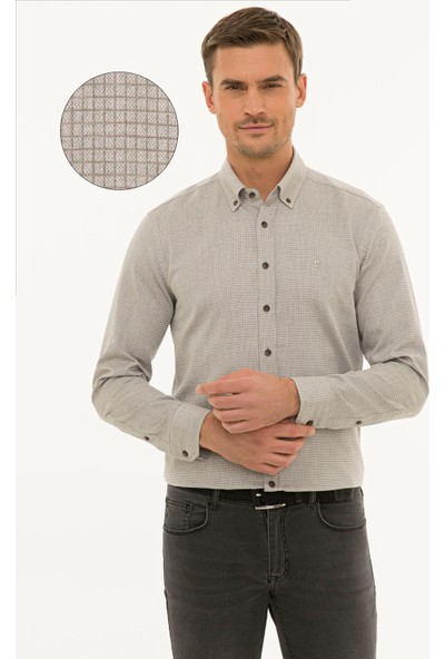 Pierre Cardin Erkek Açık Kahverengi Slim Fit Gömlek 50233469-Vr002