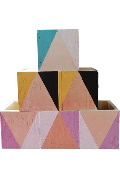 Aden Tasarım - Geometrik Desenli Ahşap Kare Kutu (Siyah - Sarı)