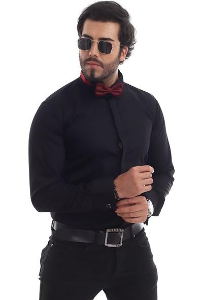 Altegro %100 Pamuk Saten Damatlık Duble Manşet Kol Düğmeli Siyah Erkek Gömleği
