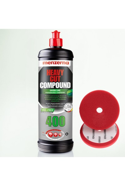Menzerna Heavy Cut Compound 400 Green 1 lt + Premium Heavy Cut Foam Pad 150 mm Red