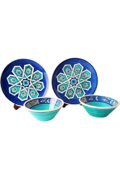 Tuluat Art Gallery Kütahya Çinisi , 4 Parça ,el Işleme ,2 Ad. Pasta/ Kahvaltılık Tabak Takım ve 2 Ad. Kase