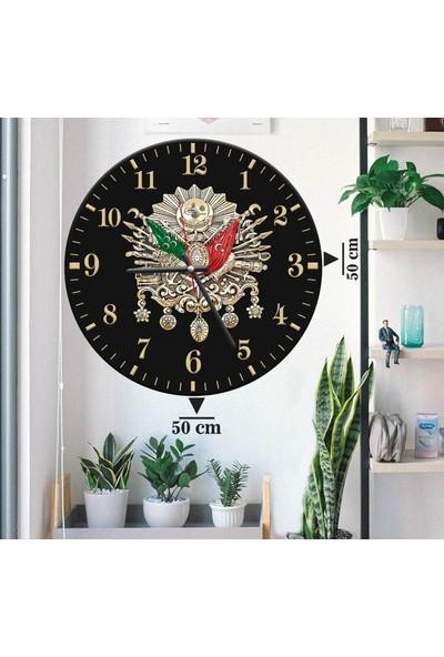 Evinizin Dekoru Duvar Saati Dev Boy 50X50 Siyah Osmanlı Tuğrası DS12