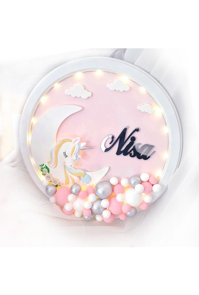 Pegu Unicorn Işıklı Akşap Bubble Bebek Kapı Süsü