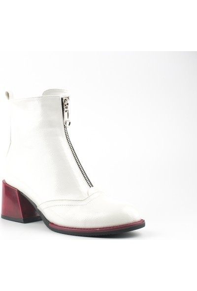 Marine Shoes Kadın Beyaz Rugan Deri Bot