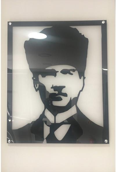 CUSTOM Atatürk Deseni Pleksi Duvar Tablosu 45X55