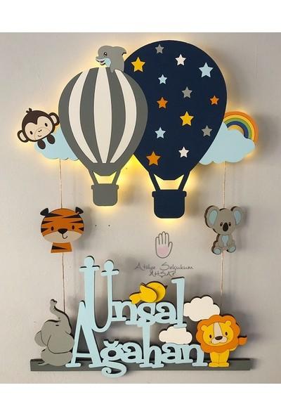 Atölye Selçukum Işıklı İsme Özel Ahşap Bebek Odası Kapı Süsü - Uçan Balon & Hayvanlar