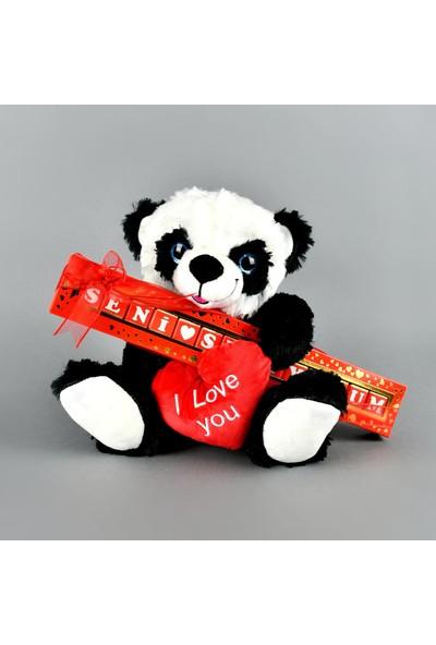 Mabel Seni Seviyorum Çikolata Sütlü 135 gr ve 40 cm Sevimli Panda Peluş Hediyeli