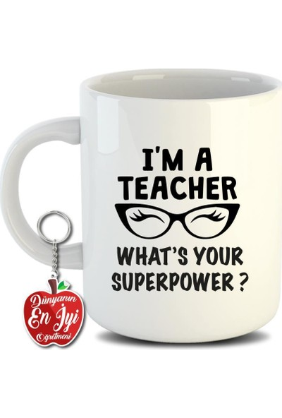 Meşgalem Öğretmenlere Özel Inci Beyazı Kupa Bardak Anahtarlık Hediyeli- 5