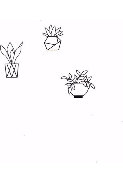 Oteberry Saksıda Çiçekler 3 Lü Duvar Dekoru