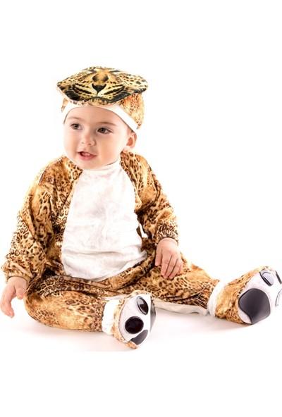 Oulabimir Uzun Kollu Bebek Kadife Leopar Kostümü Tulumu