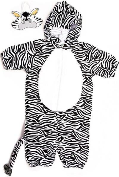 Oulabimir Kısa Kollu Bebek Pamuklu Zebra Kostümü Tulumu