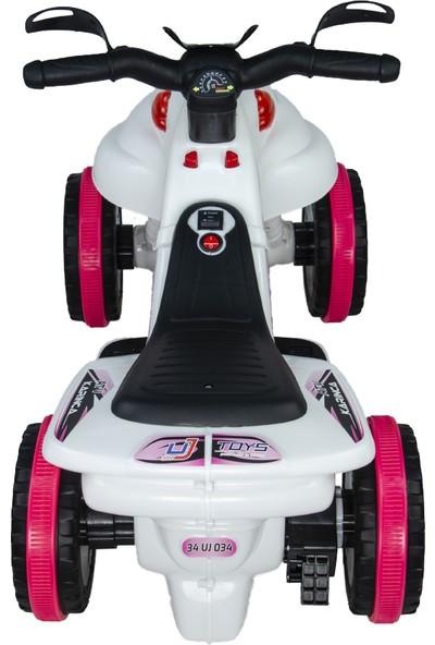 UJ Toys Akülü Atv 6 V Karınca 2020 Müzikli Işıklı Beyaz Pembe