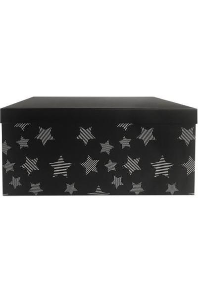 Sever Siyah Yıldızlı Dikdörtgen Kutu 23cm