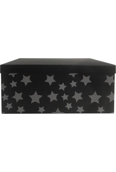 Sever Siyah Yıldızlı Dikdörtgen Kutu 27cm