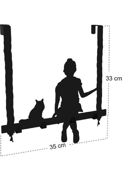 Bsign Dekorasyon Kedi ve Kız Metal Askılık, Kapı Askılığı