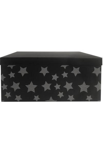 Sever Siyah Yıldızlı Dikdörtgen Kutu 20CM