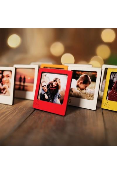 Tual Ahşap Kutulu 10 Renkli Mini Polaroid Çerçeve