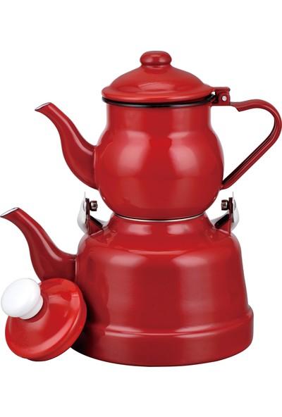 Ebru Metal Emaye Nostaljik Küçük Boy Çaydanlık Takımı - Kırmızı (11-16)