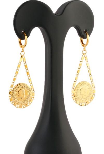 Yıldız Gold Çeyrek Ince Arpa Zincirli Altın Kaplama Küpe