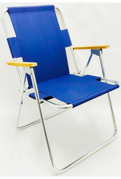 Hastunç Ahşap Kolçaklı Kamp Sandalyesi (Lacivert)