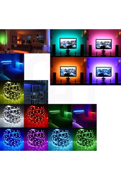 Coral Renkli Şerit LED Kendinden Trafolu Renk Değiştiren Kumandalı Rgb Animasyonlu Şerit LED