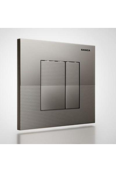 Sanica Rezervuar Panel Takımı Mat Krom Boyalı P03 21 x 18 cm
