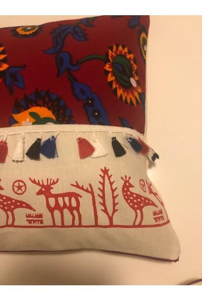 Heybelioda Keten Hitit Desen El Boyama Özel Tasarım Dekoratif Yastık Kırlent Kılıfı
