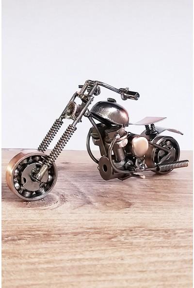 Oyuncak Filesi Metal Motosiklet Maketi El Yapımı Dekoratif Obje 16 cm
