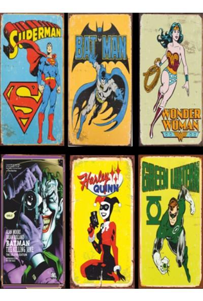 Hayal Evi Batman Superman Süper Kahramanlar 6lı Retro Ahşap Poster Seti