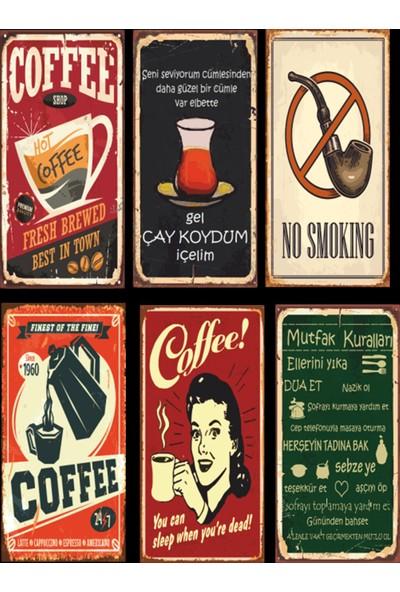 Hayal Evi Kahve Çay Mutfak 6lı Retro Ahşap Poster Seti