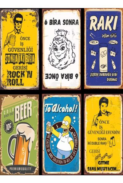 Hayal Evi Alkol Temalı 6lı Mini Retro Ahşap Poster Seti