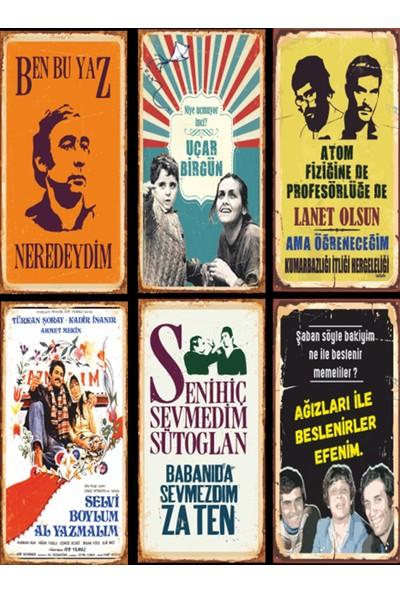 Atc Yeşilçam Türk Sineması 6lı Ahşap Poster Seti-1