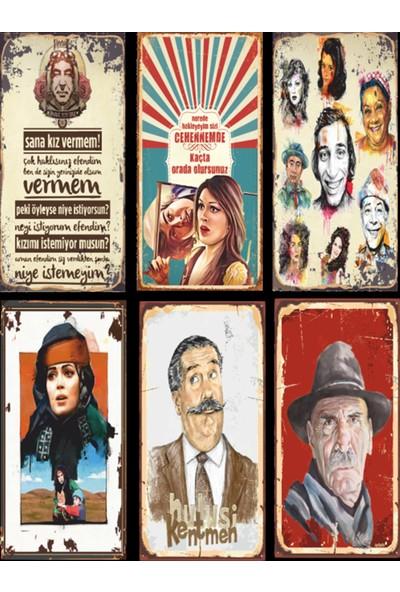 Hayal Evi Yeşilçam Türk Sineması 6lı Ahşap Poster Seti