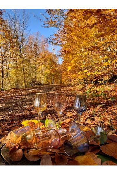Nil 3 Renk Lüster Yaldızlı 6'lı Kahve Yanı Su ve Likör Bardak