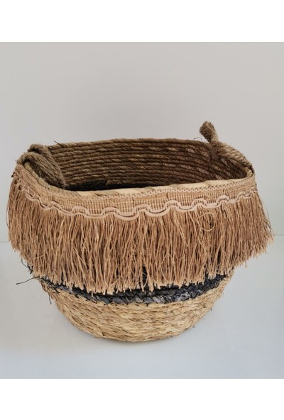 Tmall Home Püsküllü Hasır Sepet Siyah Küçük -003280