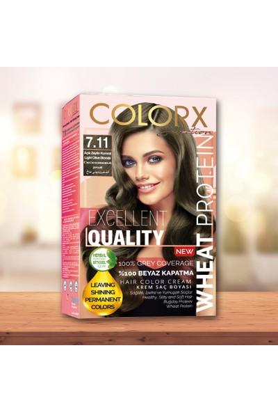 Colorx Set Saç Boyası-7.11-Açık Zeytin Kumral