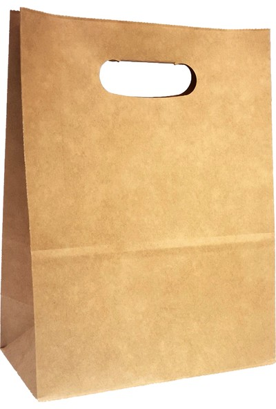 Baran Ambalaj Doğal Kraft Kağıt Poşet/çanta El Geçme Sap 22X11X28 cm Kahverengi 50 Adet