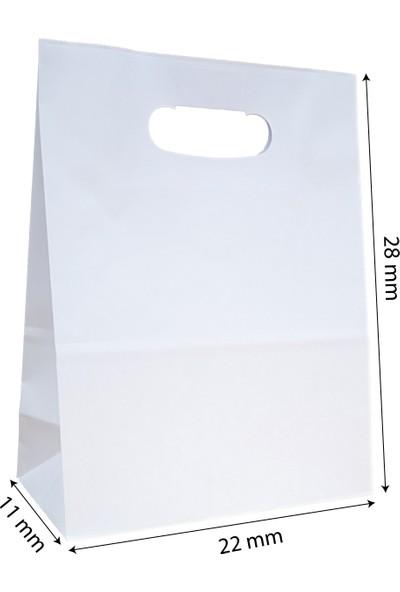 Baran Ambalaj Doğal Kraft Kağıt Poşet/çanta El Geçme Sap 22X11X28 cm Beyaz 50 Adet