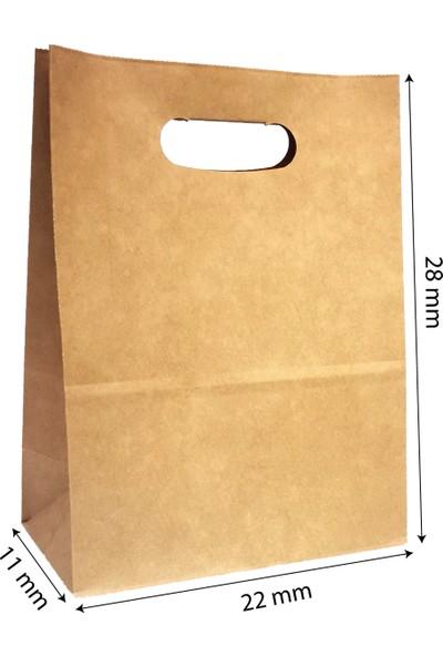 Baran Ambalaj Doğal Kraft Kağıt Poşet/çanta El Geçme Sap 22X11X28 cm Kaverengi 1000 Adet