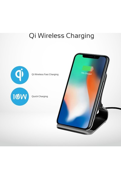 Promate Auradock-5 Kablosuz Şarj Standı 10 Watt Qi Sertifikalı Alüminyum Dizayn Ultra Hızlı