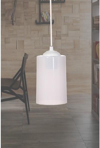 Supply Home Rustik Akrilik Beyaz Cam Tekli Sarkıt Avize Salon, Mutfak, Koridor, Antre