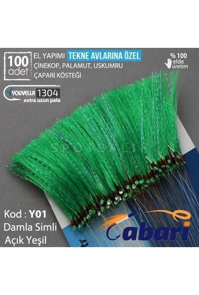 Abari Açık Yeşil Organze Tekne Çapari Kösteği 100 Ad Açık Yeşil - 6 No Siyah Iğne