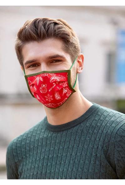 Maisonette Yıkanabilir Pamuklu Yüz Maskesi Kırmızı M Beden 5 Adet