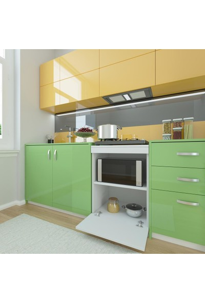 Kenzlife Ocak Dolabı Ayşe Byz 85*60*57 Mutfak Modül Mini Fırın Mikrodalga Banyo Ofis Modül